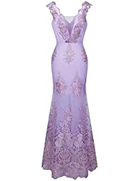 Angel-fashions Women's V Neck Embroidery Lace Flower Straps Mermaid Dress