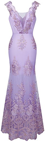 Angel-fashions Women's V Neck Embroidery Lace Flower Straps Mermaid Dress XLarge Plum