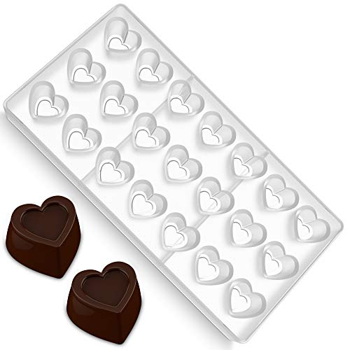 (O'Creme Clear Polycarbonate Chocolate Mold Heart Chocolate Mold Heart Shaped Mold Valentine Heart Chocolate Gummy and Candy Mould Candy Making Molds Non-Stick PC Mold BPA Free Wedding Chocolate Mold)
