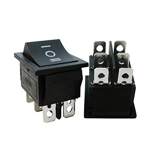 (Twidec/2Pcs AC 20A/125V 16A/250V DPDT 6 Pins 3 Position ON/Off/ON Car Boat Black Rocker Switch Toggle(Quality Assurance for 1 Years)KCD2-203)