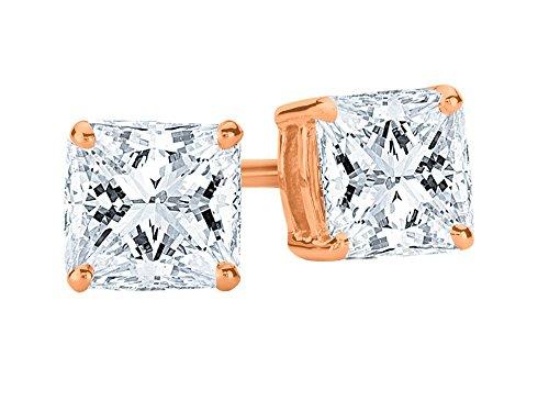 (1/2 0.5 Carat Princess Cut Diamond Stud Earrings Earth-mined 14K Rose Gold (I-J I1-I2))