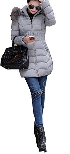 Arkind Abrigo Mujer Invierno Abrigo con Zip Parka Invierno Abrigo Rojo Negro Gris Plateado Gris