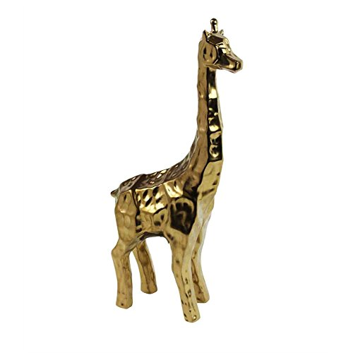 Animal Ceramic Statue (Benzara Unique Textured Decorative Ceramic Giraffe Figurine, Gold Animal Statue)