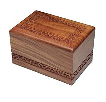 Indian Glance Wooden Urn Box – Urn for Human Ashes Funeral Cremation Urn with Hand Carved Design X-Large