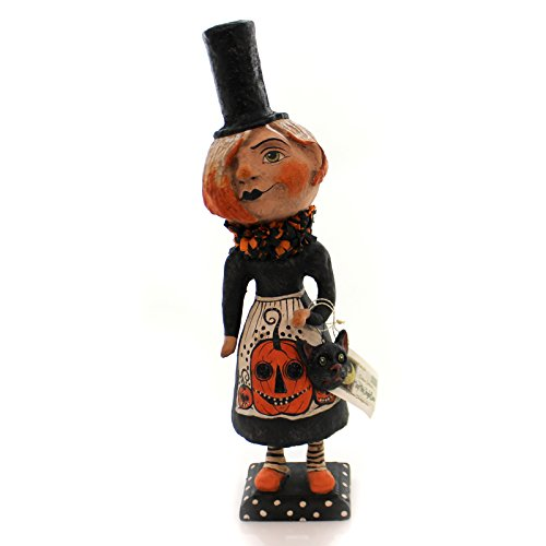 Halloween GOTH GIRL IN TOP HAT Paper Black Cat Pumpkin Hh4870