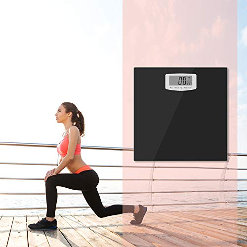 Bucanim Digitale Badzimmer Personenwaage mit Temperatur Anzeige,Digitale Körpergewichtswaage mit Step on Technologie 180KG