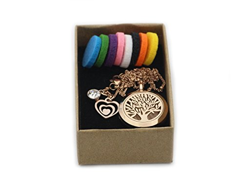Rose Gold Tree of Life Essential Oil Diffuser Necklace -Aromatherapy Pendant-316L Stainless Steel Perfume Fragrance Jewelry for Women-20 Chain+8 Washable Felt Pads+2 Charms by Wonlee Winle (Image #4)