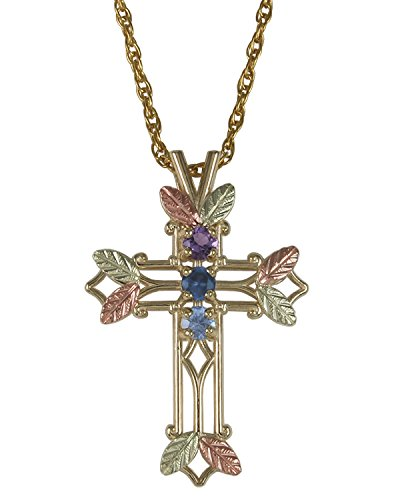 (Amethyst, Sapphire and Aquamarine Pointed Cross Pendant Necklace, 10k Yellow Gold, 12k Green and Rose Gold Black Hills Gold Motif, 18