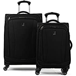 "Travelpro TourGo 20"" and 25"" Softside Spinner Luggage Set, Black"