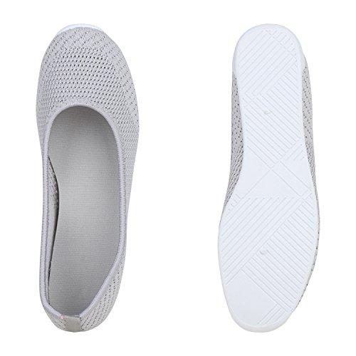 Damen Slippers Slip Ons Strick Flats Freizeit Schuhe Ballerinas Flandell Grau