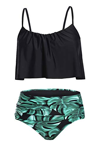 Byoauo Womens High Waist Bikini Swimsuits Two Piece Thin Shoulder Straps Plus Size Swimwear (S, Black-GL)