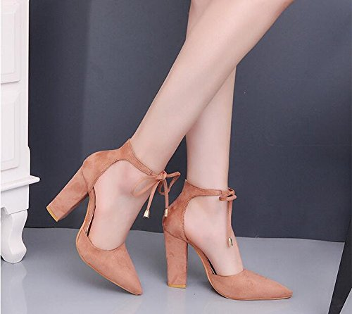 KHSKX-Hochhackigen Schuhe Große Wildleder Hochhackigen Schuhe Frauen Schuhe Grob Hacken Baotou Temperament. Forty-three