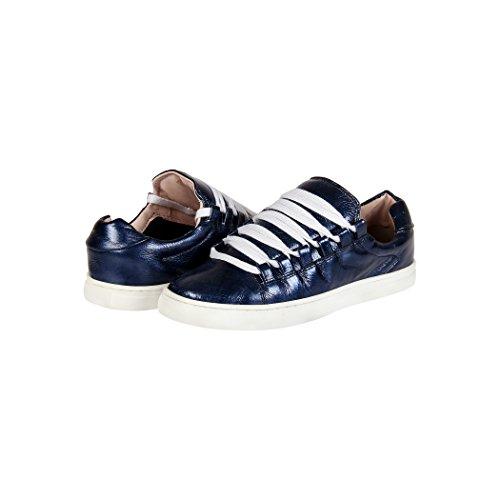 Tedish Sneakers Dames Wandelschoenen Meisje Leder Comfortabele Ongedwongen Lace-up Flats Td004 Orabelle Sapphire Sapphire