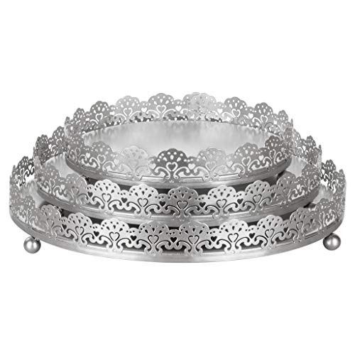 Sophia 3-Piece Silver Decorative Tray Set, Round Metal Ornate Accent Vanity Food Display Serving Platter Holder -