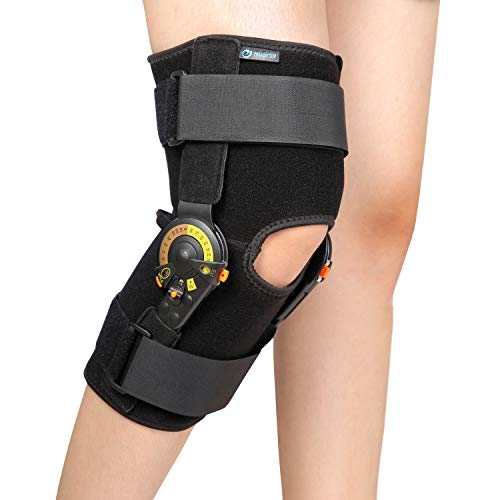 Nvorliy Hinged ROM Knee Brace Adjustable Knee Immobilizer Support for Arthritis, ACL, PCL, Meniscus Tear, Tendon, Osteoarthritis, Post OP Recovery – Leg Stabilizer for Men & Women – One Size