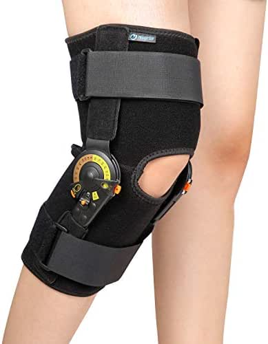 Nvorliy Hinged ROM Knee Brace Adjustable Knee Immobilizer Support for Arthritis, ACL, PCL, Meniscus Tear, Tendon, Osteoarthritis, Post OP Recovery - Leg Stabilizer for Men & Women (Regular)
