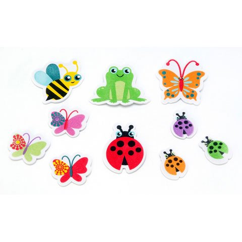 60 Garden Creatures Peel Off Foam Stickers~Bumblebees~Lady Bugs~Butterflies~ Frogs~Arts & Crafts/Scrap booking