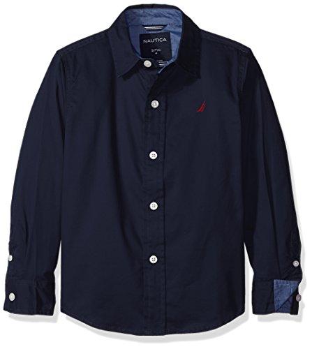 (Nautica Little Boys Solid Twill Long Sleeve Woven Shirt, Sport Navy, Large/7))