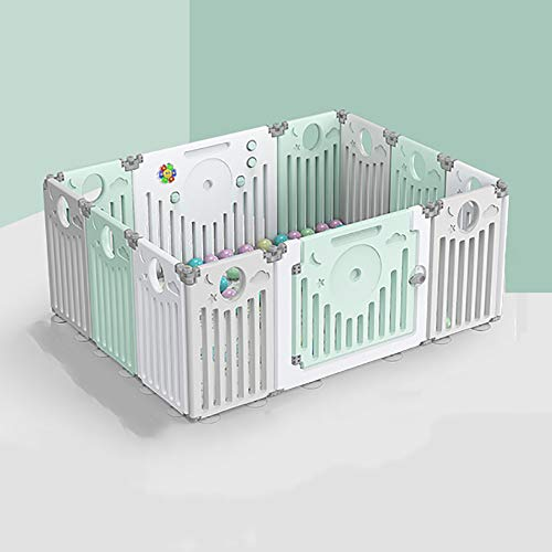 Plastic Baby Playpen,12 Sides Activity Panel Foldable Kids Portable Playard Activity Centre Safety Play Yard Fence Play Area Gate Home Indoor Outdoor New Pen(Multicolour,Classic Set)
