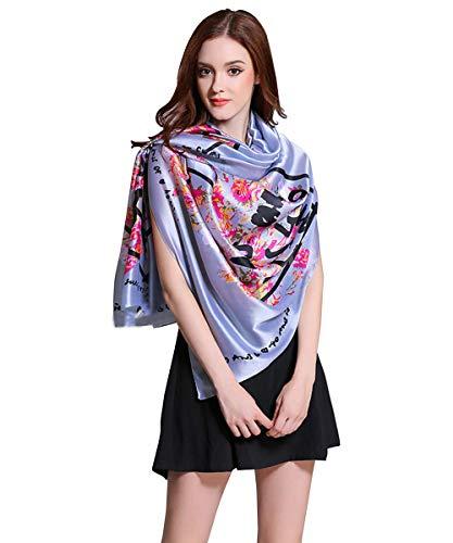 K-ELewon Silk Feeling Scarf Fashion Scarves Long Lightweight Sunscreen Shawls for Women (Gray-Flower)