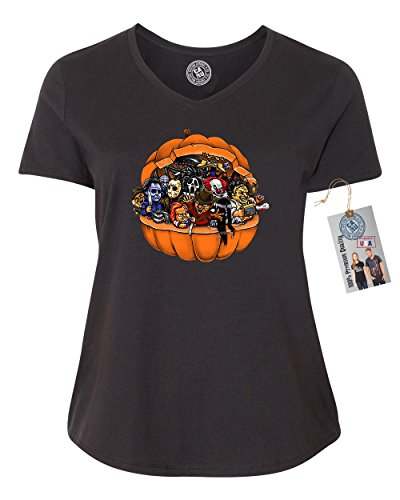 Scary Women Characters (Pumpkin Halloween Scary Characters Plus Size Womens V Neck T-Shirt Black 3XL)