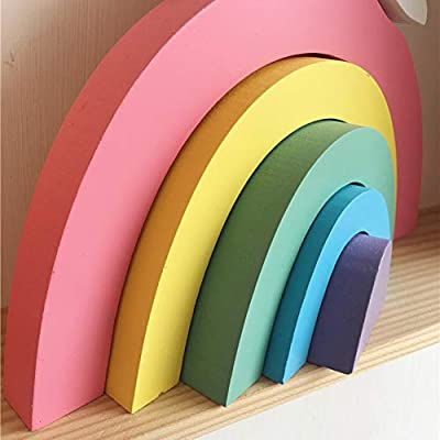 Fenfangxilas Kid Toy, Wooden Rainbow Building Blocks Educational Stacking Toy Nursery Room Decor for Kids Toddler Rainbow: Home & Kitchen