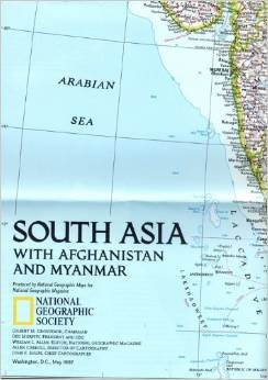 National Geographic Map South Asia with Afghanistan and Myanmar, May 1997
