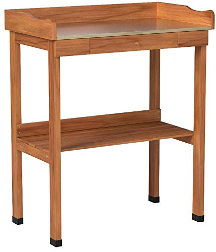 Cypress Wood Potting Bench with Metal Top and Storage to Hold All of Your Gardening Tools by Jack Post