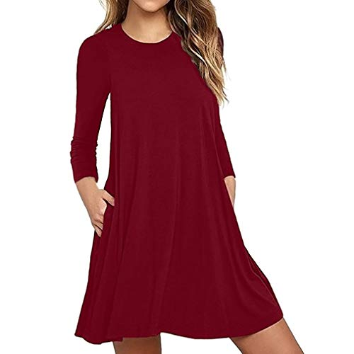 Kimodo Donna Sulla Vino Tasca Sera Da Moda Casuale Rosso Vestito Lunga Allentata Maglietta Da Manica Partito SnrSHZAx
