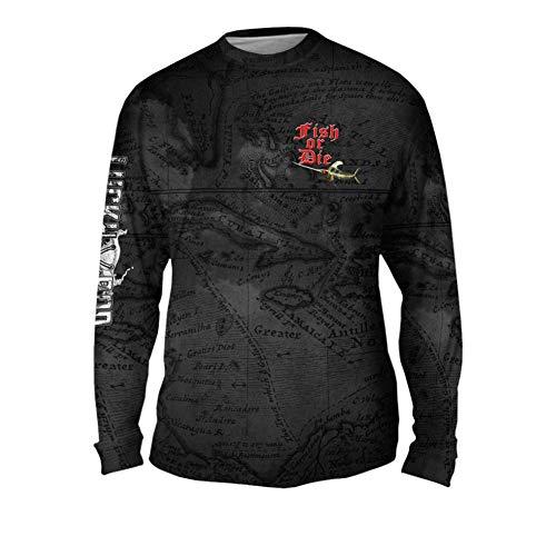 Yizzam LuckyRod Bonefish Mens Long Sleeve UPF 50+ Performance Fishing Shirt (4X, Fish Or Die)