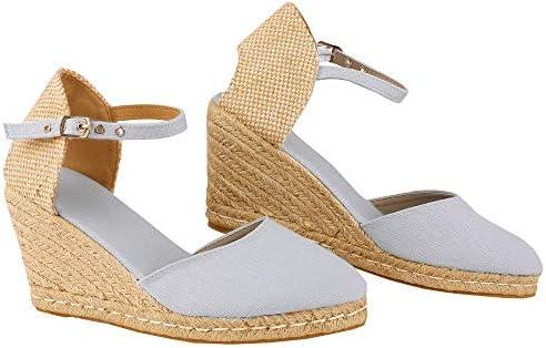 LAICIGO Womens Closed Toe Wedge Espadrille Sandals Platform