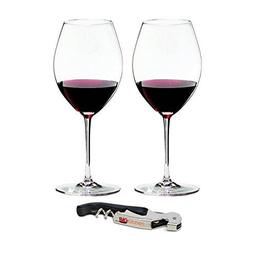 Riedel Sommeliers Leaded Crystal Hermitage/Syrah 2 Piece Wine Glass Set with Bonus BigKitchen Waiter's Corkscrew ()