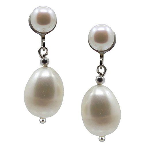 tured Pearl Clip On Earrings 5.0-10.0mm with rhodium plated base metal clip ()