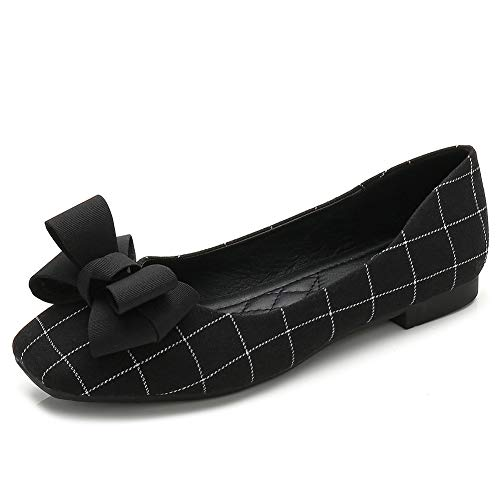 Meeshine Women's Classic Ballet Flats Comfort Slip On Bowknot Plaid Dress Shoes(6 B(M) US,Black 01) ()