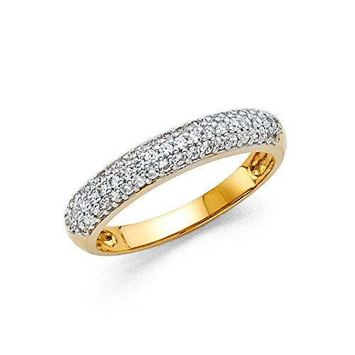 4K Yellow Gold Round Cut Pave Set Wedding Band Ring (0.75 cttw.) (Pave Wedding Ring Sets)