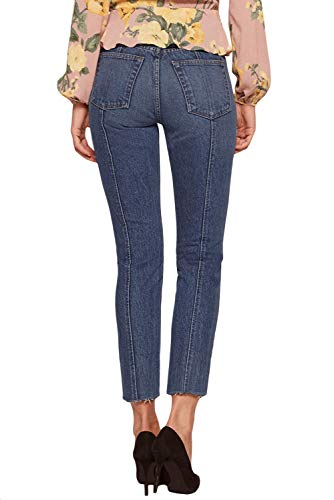 Donna Vivo Blue S Da Jeans Seam Accent A Raw Taglio 6qF5vw