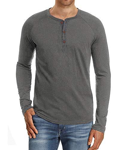 PEGENO Men's Casual Slim Fit Long Sleeve Henley T-shirts Cotton Shirts Dark Gray-US XL