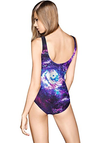 HZZ de las mujeres de una pieza del cielo estrellado del traje de baño del traje de baño de impresión Scoop traje de natación , as figure as figure