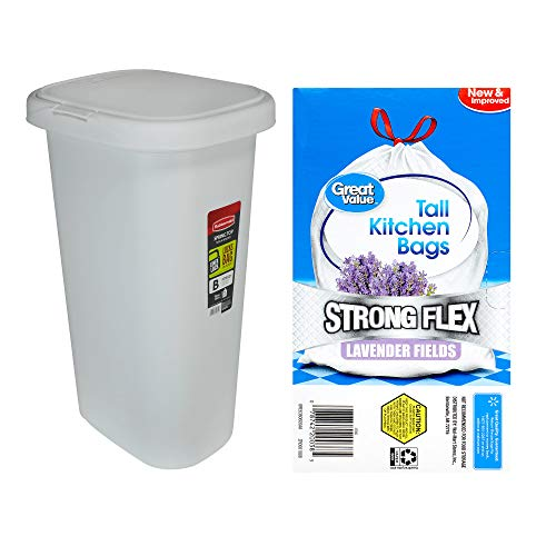 A.T. Products Corp. Rubbermaid LinerLock Spring Top Trash Can 13-Gal in White Bundle with Great Value Strong Flex Tall Kitchen Drawstring Trash Bags in Lavender Fields 13-Gallon, 45 Count (Rubbermaid Spring Top Waste Cans With Linerlock)