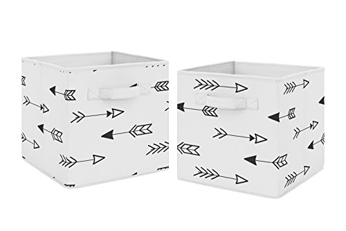 Baby Black Arrow - Black and White Arrow Foldable Fabric Storage Cube Bins Boxes Organizer Toys Kids Baby Childrens for Fox and Arrow Collection by Sweet Jojo Designs - Set of 2