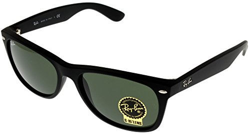 Ran Ban New Wayfarer Sunglasses Unisex Black Rubber RB2132 622 (Wayfarer Black Ban Ray Cheap)