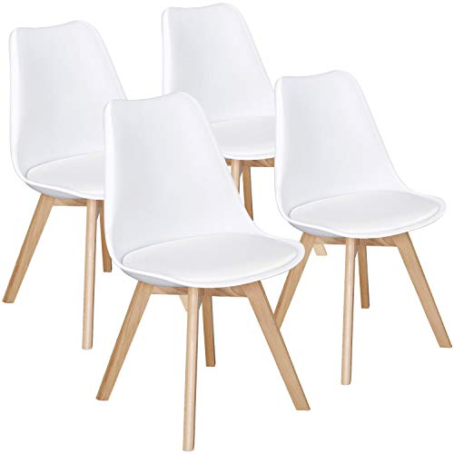 Yaheetech Dining Chairs DSW Chair Shell Lounge Plastic Side Chair Modern Mid Century Dining Room Living Room Bedroom Kitchen Chairs Tulip Chair White,4Pcs