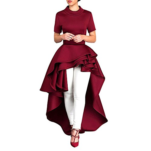 (Women Party Dresses, JOYFEEL Ladies❤️ Ruffled High Low Peplum Zipper Maxi Dress Bodycon Solid Color Casual Prom Dress Red)