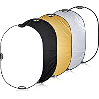 Neewer Portable 5-in-1 60x80inch/150x200cm Multi-Disc Oval Light Reflector with 3 Handle for Photography Photo Studio Lighting & Outdoor Lighting -Translucent, Silver, Gold, White and Black