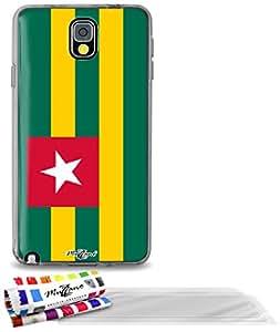"""Carcasa Flexible Ultra-Slim SAMSUNG GALAXY NOTE 3 de exclusivo motivo [Bandera Togo ] [Gris] de MUZZANO  + 3 Pelliculas de Pantalla """"UltraClear"""" + ESTILETE y PAÑO MUZZANO REGALADOS - La Protección Antigolpes ULTIMA, ELEGANTE Y DURADERA para su SAMSUNG GALAXY NOTE 3"""