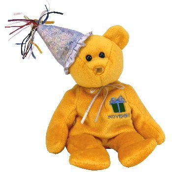 TY Beanie Baby - NOVEMBER the Teddy Birthday Bear (w/ hat) by Ty