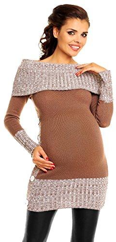 Zeta Ville De Las Mujeres Maternidad off-Shoulder Knit Pullover Jersey Túnica Superior–�?13C Capuchino