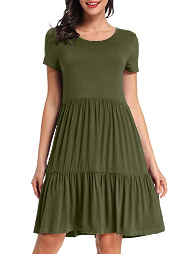 VEPKUL Womens Summer Dresses Floral Plain Swing Soft Loose Casual Short Dresses Round Neck Short Sleeves Shirt Dresses