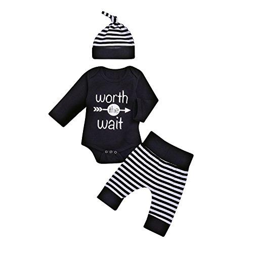 Infants Striped Playsuit (3Pcs Baby Boy Girls Letters Arrow Romper Top+Long Striped Pant+Hat Bodysuit Shower Outfit (6-12Months, Black))