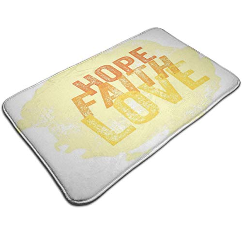 (Bath Mat,Inspirational Ancient Hope Faith Love Quote with Grunge Letters,Plush Bathroom Decor Mat Non Slip Backing,19.531.5 inch)